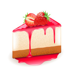 strawberry cheesecake isolated on white vector image