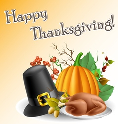 Thanksgiving text frame with pumpkin and turkey vector image vector image