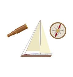 vecotr flat cartoon nautical marine symbols set vector image vector image