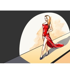 Lady in red on the runway vector image