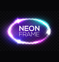 neon sign oval frame with glowing light sparkles vector image