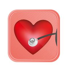 Red heart doorbell icon vector