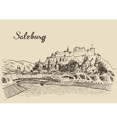Salzburg skyline Austria vintage hand drawn sketch vector image