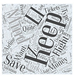 Airline tickets and theme parks word cloud concept vector