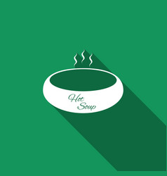 Bowl of hot soup icon with long shadow vector
