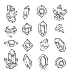 Hand drawn crystals graphic set vintage vector image