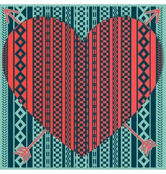 hipster heart with patterns vector image