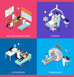patient and doctor appointment set isometric view vector image vector image