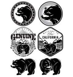 set of stylish retro badges with bears forest vector image vector image