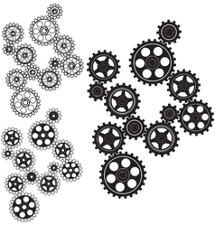 Toothed gears in a single mechanism vector image vector image