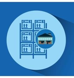 warehouse building boxes racks vector image