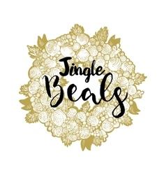 Xmas golden wreath and jingle beals vector