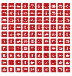 100 comfortable house icons set grunge red vector image