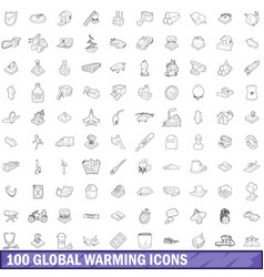 100 global warming icons set outline style vector