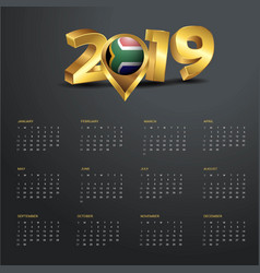 2019 calendar template south africa country map vector image