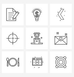 9 universal line icon pixel perfect symbols of vector image