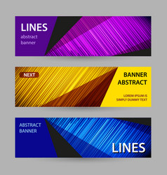 abstract bright banner with lines on dark vector image