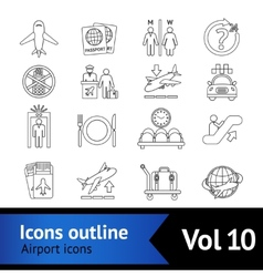 Airport icons outline set vector