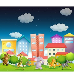 Animals and city vector image