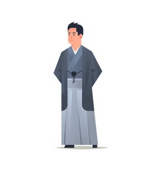 asian guy wearing traditional clothes smiling man vector image