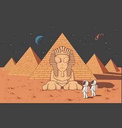 Astronaut found another alien civilization vector