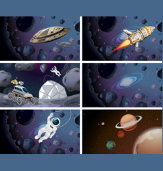 Astronauts and space ship scenes vector