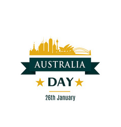 australia day greeting banner sydney skyline vector image