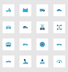 Automobile colorful icons set collection of lorry vector