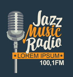 banner for jazz music radio with silver microphone vector image