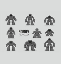 black different robots set vector image
