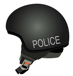 Black police helmet with text police vector image