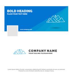 Blue business logo template for mountain vector