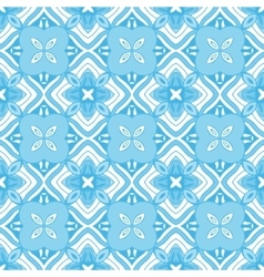 blue geometric seamless tiled pattern vector image