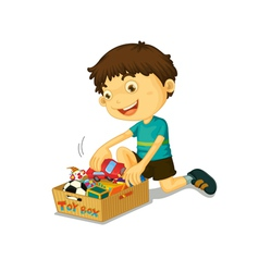 Boy with his toys vector