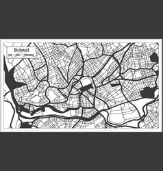 Bristol great britain city map in black and white vector