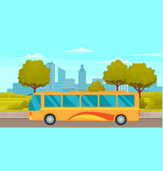 bus travels across park road with nature puplic vector image