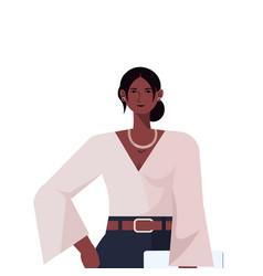 Businesswoman leader in formal wear holding laptop vector