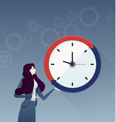 businesswoman with a big clock business concept vector image