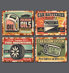 Car auto service station rusty retro posters vector