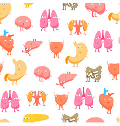 cartoon internal organs funny emotions seamless vector image