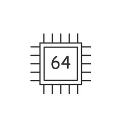 chip cpu line icon simple modern flat for mobile vector image