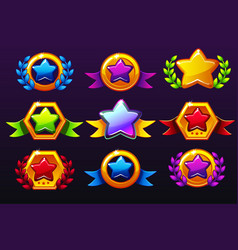 Coloured templates star icons for awards creating vector