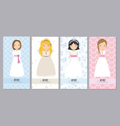 Communion cards girls vector