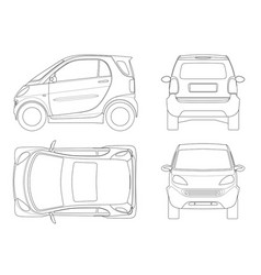 Compact small car in outline vector