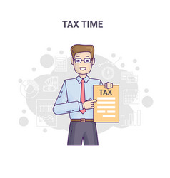 conceptual banner reminder on tax time flat line vector image