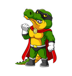 crocodile with super heroes costume and vector image