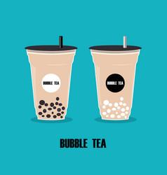 Cup with bubble teacartoon milk tea with vector