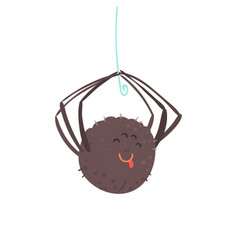 Cute cartoon hanging spider character vector