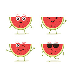 cute set of watermelon fruit character vector image
