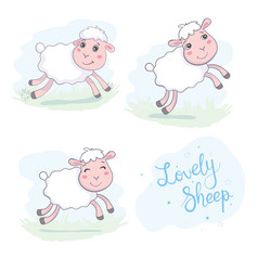 Cute sheep in flat style vector